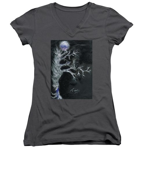 Women's V-Neck T-Shirt (Junior Cut) featuring the drawing Midnight Owl by Teresa White