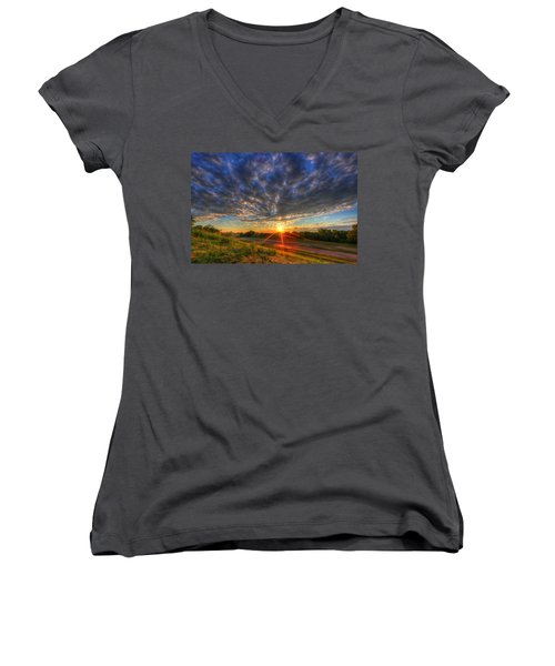 Midwest Sunset After A Storm Women's V-Neck