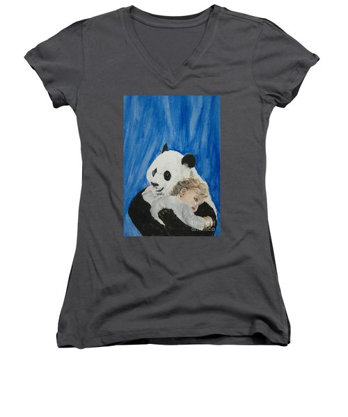 Mika And Panda Women's V-Neck T-Shirt