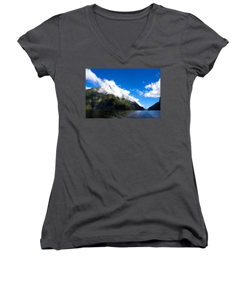Women's V-Neck T-Shirt (Junior Cut) featuring the photograph Milford Sound #2 by Stuart Litoff