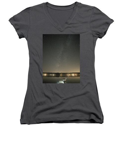 Milky Way Spills Into Conesus Women's V-Neck T-Shirt
