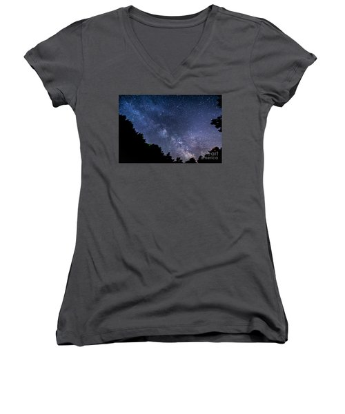 Milky Way Over Silver Springs Campground Women's V-Neck T-Shirt