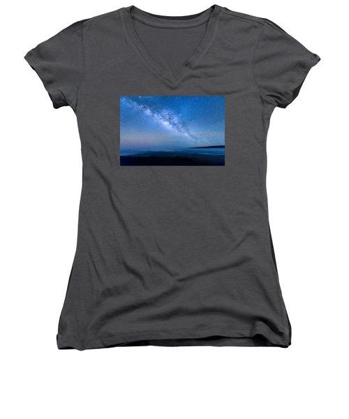Milky Way Suspended Above Mauna Loa 1 Women's V-Neck T-Shirt