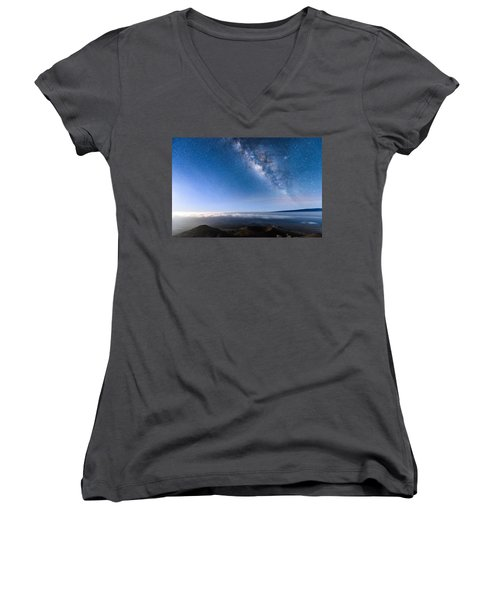 Milky Way Suspended Above Mauna Loa 2 Women's V-Neck (Athletic Fit)