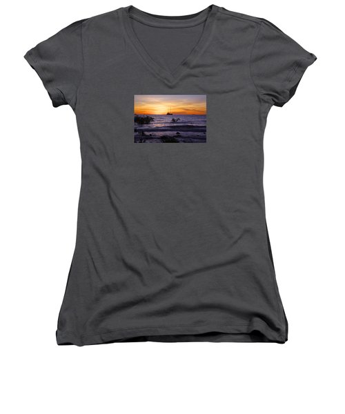 Mindil Beach Sunset Women's V-Neck T-Shirt (Junior Cut) by Venetia Featherstone-Witty