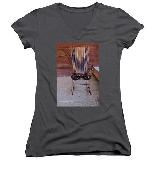 Women's V-Neck T-Shirt (Junior Cut) featuring the photograph Miner's Rocker by Fran Riley