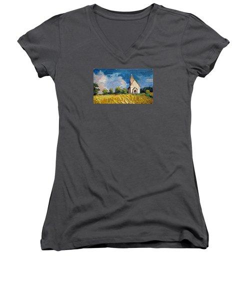 Women's V-Neck T-Shirt (Junior Cut) featuring the painting Mini Church by Jieming Wang