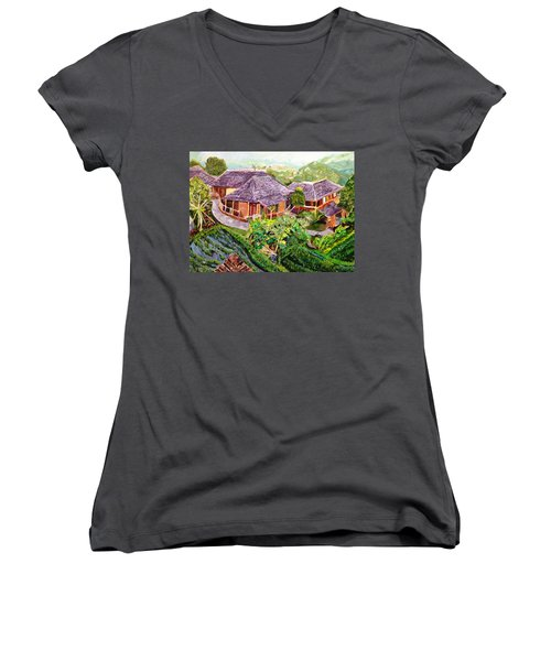 Women's V-Neck T-Shirt (Junior Cut) featuring the painting Mini Paradise by Belinda Low