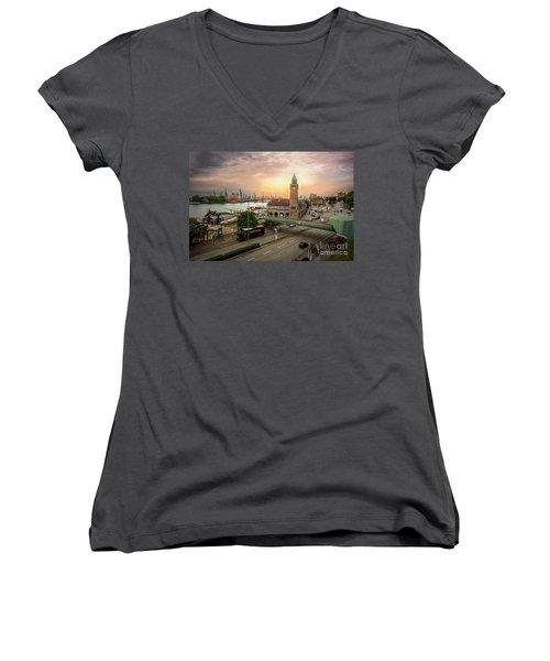Miniature Hamburg Women's V-Neck T-Shirt (Junior Cut) by Daniel Heine