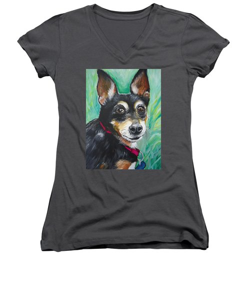 Miniature Pincher Women's V-Neck T-Shirt