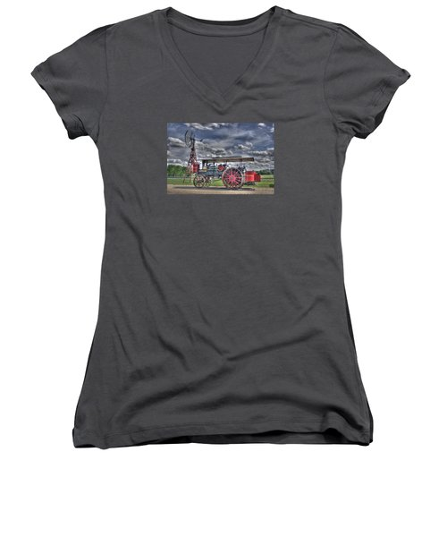Minneapolis At The Windmill Women's V-Neck T-Shirt (Junior Cut) by Shelly Gunderson