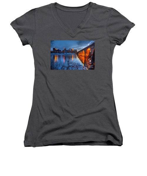 Minneapolis Skyline Images Stone Arch Bridge Spring Evening Women's V-Neck (Athletic Fit)