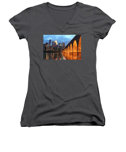 Minneapolis Skyline Photography Stone Arch Bridge Women's V-Neck (Athletic Fit)