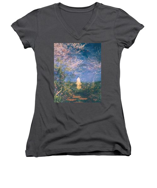 Women's V-Neck T-Shirt (Junior Cut) featuring the photograph Mirage by Judith Morris