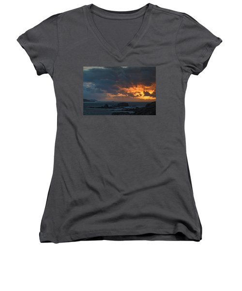 Women's V-Neck T-Shirt (Junior Cut) featuring the photograph Mirandas Islands Galicia Spain by Pablo Avanzini