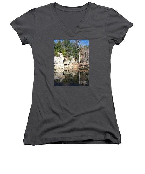 Women's V-Neck T-Shirt (Junior Cut) featuring the photograph Sugar Creek Mirror by Pamela Clements