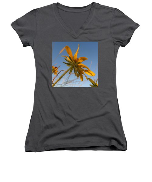 Women's V-Neck T-Shirt (Junior Cut) featuring the photograph Miss Daisy by Joseph Skompski