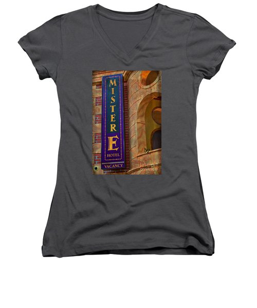 Mister E Hotel - Vacancy Sign Women's V-Neck T-Shirt (Junior Cut) by Liane Wright