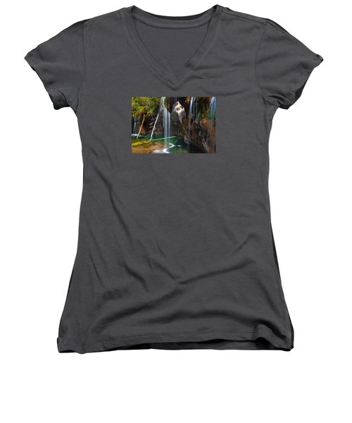 Misty Falls At Hanging Lake Women's V-Neck (Athletic Fit)
