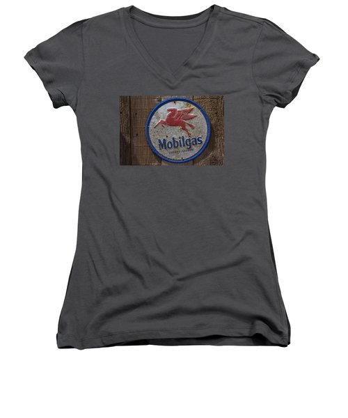 Mobil Gas Sign Women's V-Neck T-Shirt (Junior Cut) by Garry Gay