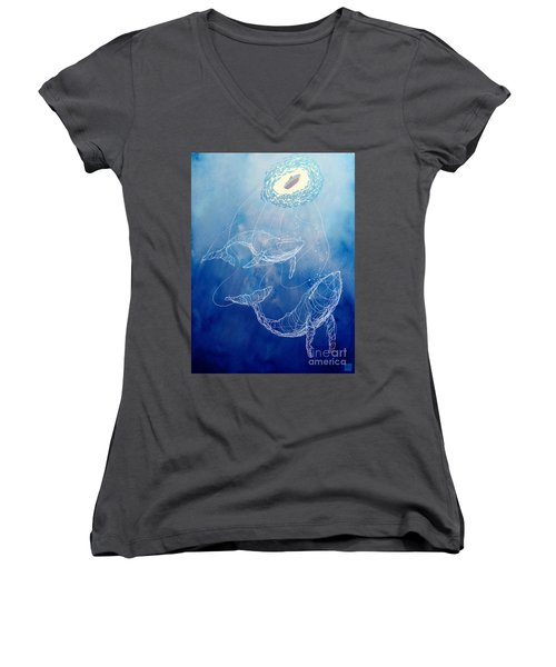 Moby Dick Women's V-Neck T-Shirt (Junior Cut) by Sassan Filsoof
