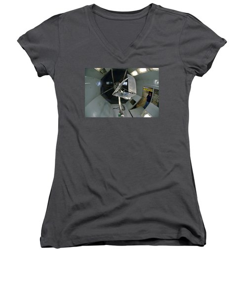 Women's V-Neck T-Shirt (Junior Cut) featuring the photograph Model Airplane In Wind Tunnel by Science Source