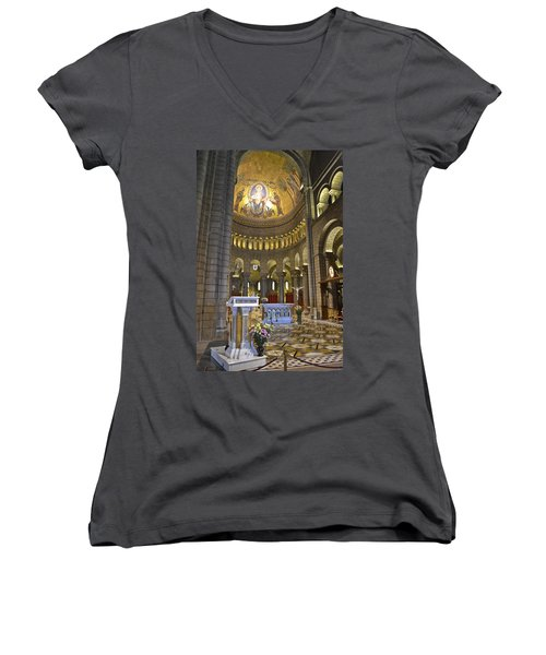 Women's V-Neck T-Shirt (Junior Cut) featuring the photograph Monaco Cathedral by Allen Sheffield