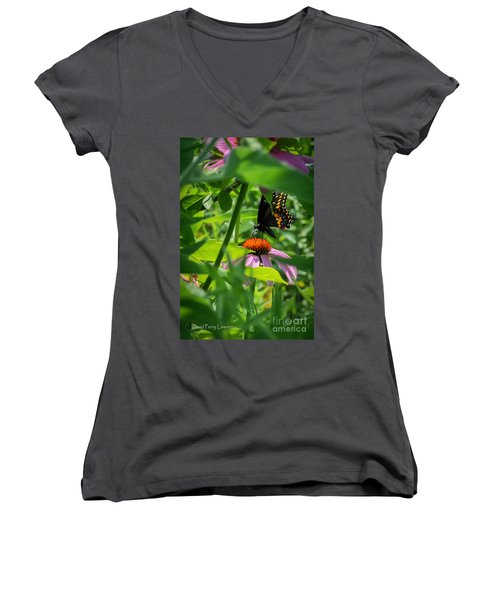 Monarch Butterfly Deep In The Jungle Women's V-Neck T-Shirt (Junior Cut) by David Perry Lawrence