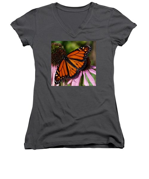 Women's V-Neck T-Shirt (Junior Cut) featuring the photograph Monarch On Purple Coneflower by Barbara McMahon