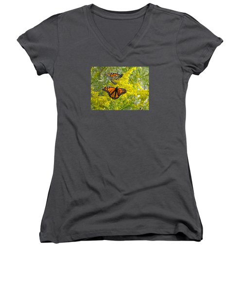 Monarchs On Goldenrod Women's V-Neck T-Shirt (Junior Cut) by Susan  Dimitrakopoulos