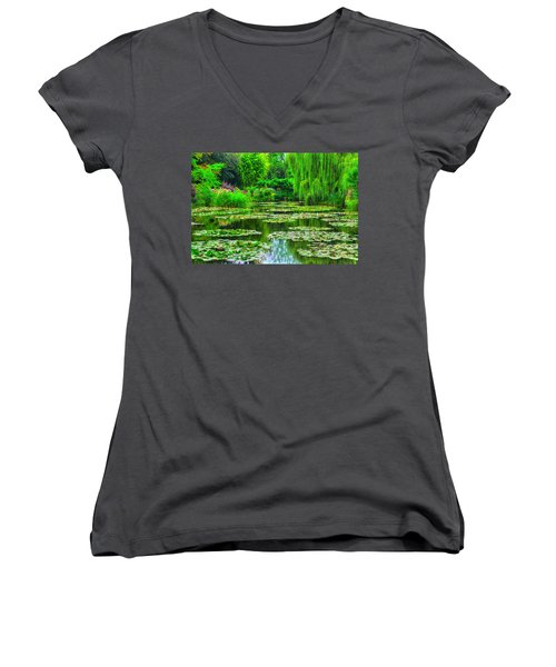 Monet's Lily Pond Women's V-Neck T-Shirt