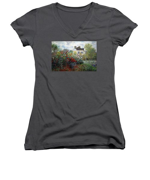 Women's V-Neck T-Shirt (Junior Cut) featuring the photograph Monet's The Artist's Garden In Argenteuil  -- A Corner Of The Garden With Dahlias by Cora Wandel