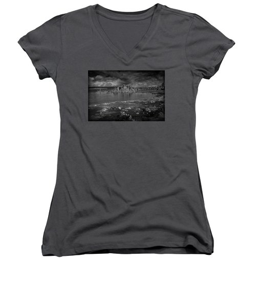 Mono Lake Tufa Women's V-Neck T-Shirt (Junior Cut) by Ralph Vazquez