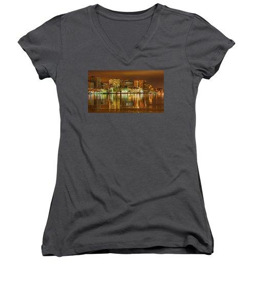 Monona Terrace Madison Wisconsin Women's V-Neck T-Shirt (Junior Cut) by Steven Ralser