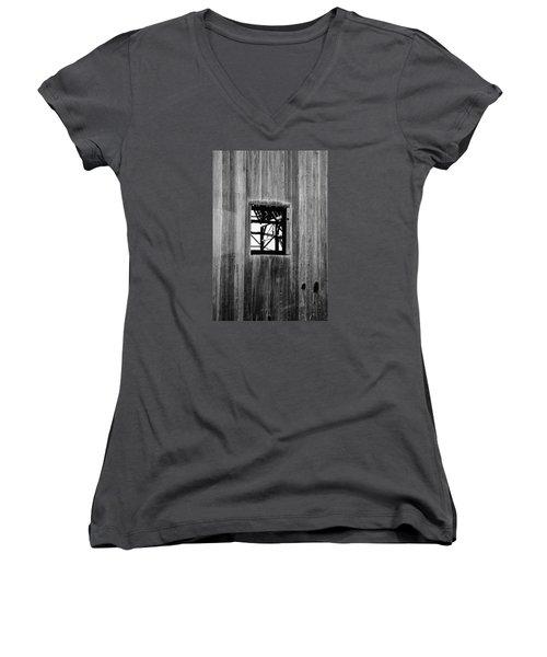 Monroe Co. Michigan Barn Window Women's V-Neck T-Shirt (Junior Cut) by Daniel Thompson