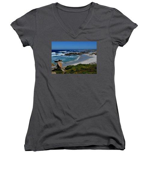 Women's V-Neck T-Shirt (Junior Cut) featuring the photograph Monterey-1 by Dean Ferreira