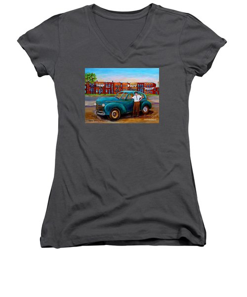 Montreal Taxi Driver 1940 Cab Vintage Car Montreal Memories Row Houses City Scenes Carole Spandau Women's V-Neck T-Shirt