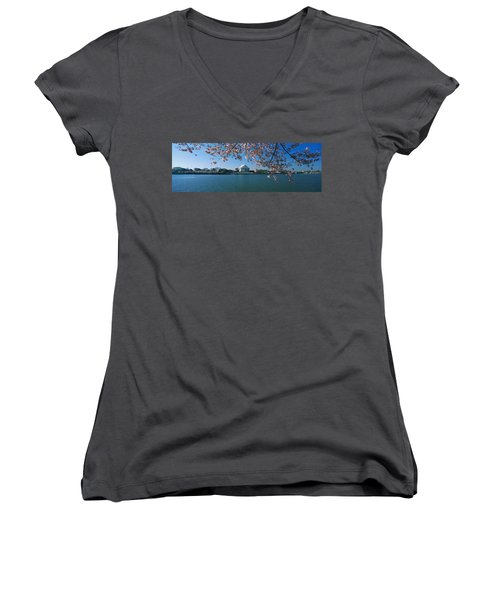 Monument At The Waterfront, Jefferson Women's V-Neck T-Shirt (Junior Cut) by Panoramic Images