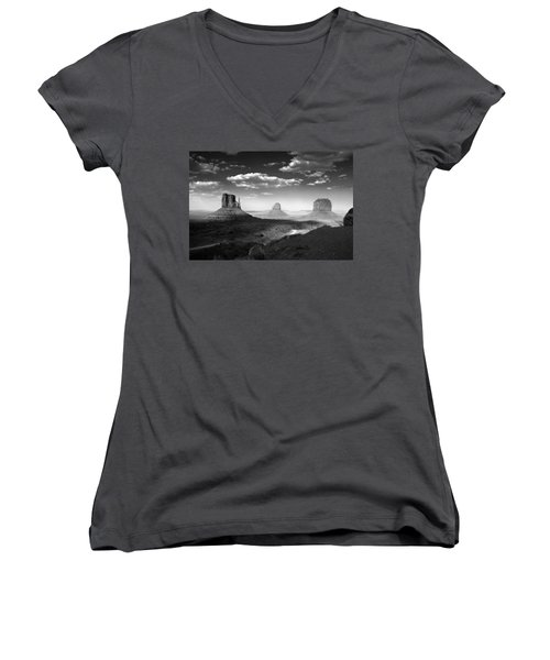 Monument Valley In Black And White Women's V-Neck (Athletic Fit)