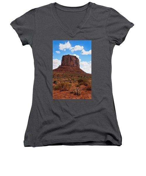 Monument Valley Monolith West Mitten Butte Women's V-Neck T-Shirt