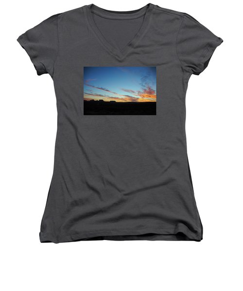Monument Valley Sunset 2 Women's V-Neck T-Shirt (Junior Cut) by Jeff Brunton