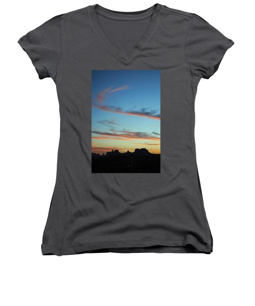 Monument Valley Sunset 3 Women's V-Neck T-Shirt (Junior Cut) by Jeff Brunton