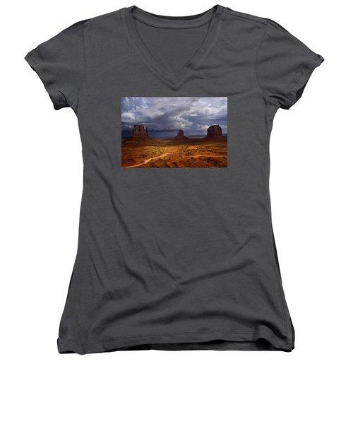 Monuments Of The West Women's V-Neck T-Shirt (Junior Cut) by Ellen Heaverlo