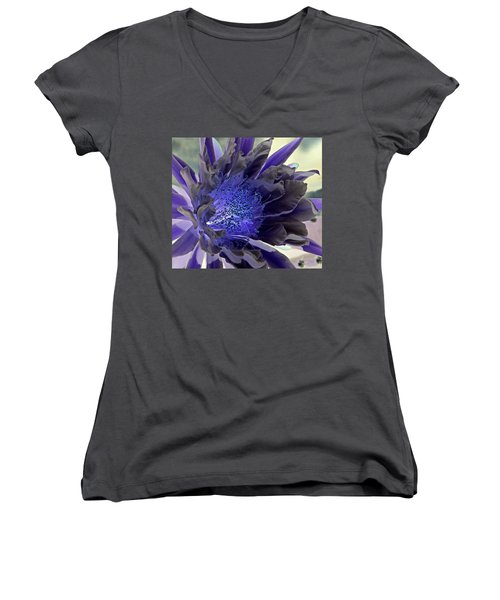 Women's V-Neck T-Shirt (Junior Cut) featuring the photograph Moody Blues by Antonia Citrino