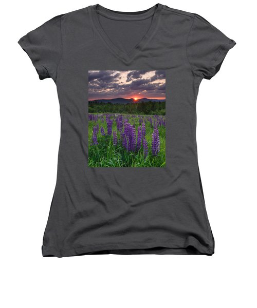 Moody Sunrise Over Lupine Field Women's V-Neck