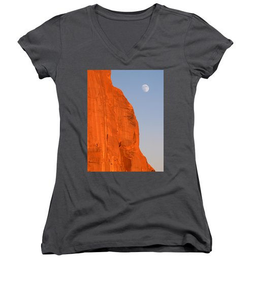 Moon At Monument Valley Women's V-Neck T-Shirt (Junior Cut) by Jeff Brunton