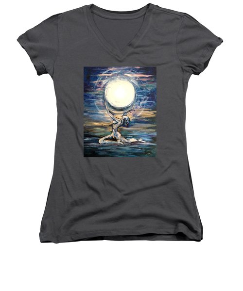 Moon Goddess Women's V-Neck T-Shirt (Junior Cut) by Karen  Ferrand Carroll