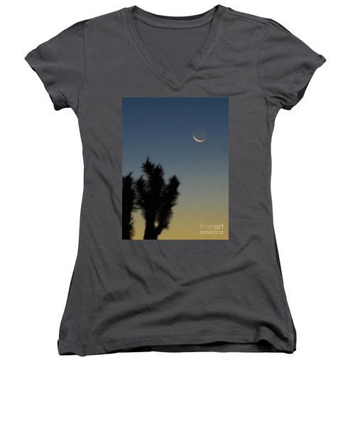 Women's V-Neck T-Shirt (Junior Cut) featuring the photograph Moon Kissed by Angela J Wright
