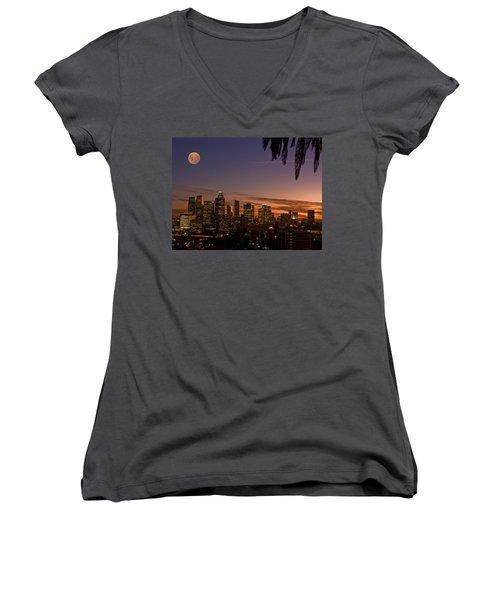 Moon Over L.a. Women's V-Neck T-Shirt