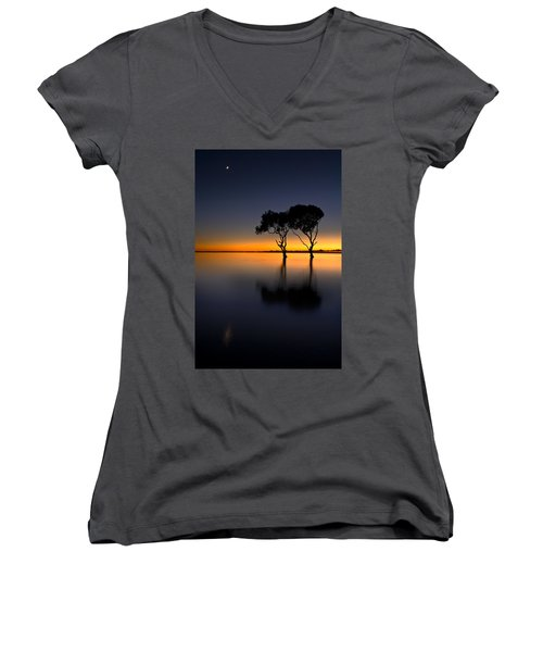 Moon Over Mangrove Trees Women's V-Neck (Athletic Fit)